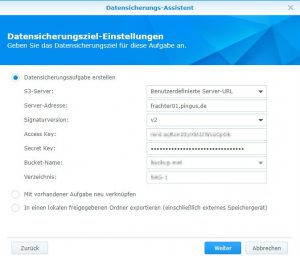 Initialer Ingest Synology Diskstation via Frachter 3